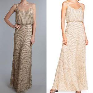 Adrianna Papell art deco blouson beaded dress sz 0